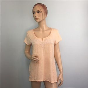 Lucky Brand Slit Neck Embroidered Tee Large